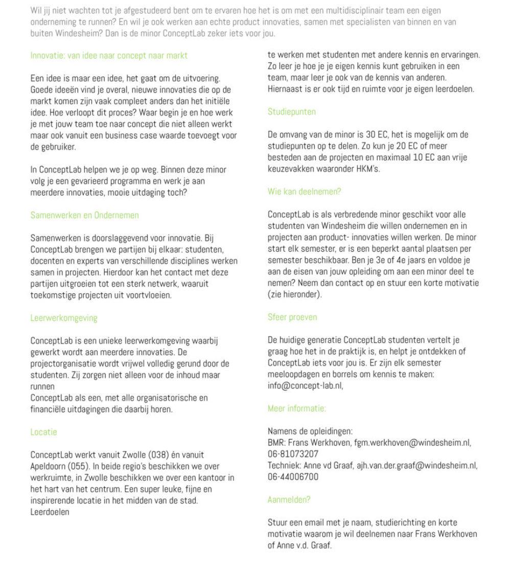 ConceptLab Windesheim Brochure BMR-1 tekst deel